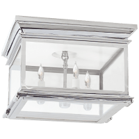Club Large Square Flush Mount in Polished Nickel with Clear Glass