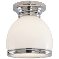 Edwardian Open Bottom Flush Mount in Polished Nickel with White Glass