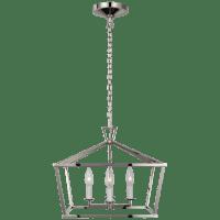 Darlana Small Wide Semi-Flush Mount Lantern in Polished Nickel