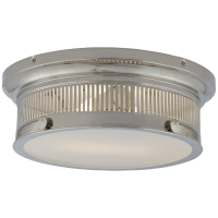 Alderly Small Flush Mount in Polished Nickel with White Glass