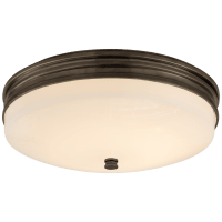Launceton Small Flush Mount in Bronze with White Glass