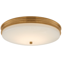 Launceton Medium Flush Mount in Antique-Burnished Brass with White Glass