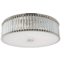"""Kean 24"""" Flush Mount in Polished Nickel with Clear Glass Rods and Frosted Glass Diffuser"""