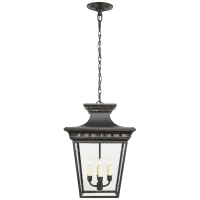 Elsinore Medium Hanging Lantern in Black with Clear Glass