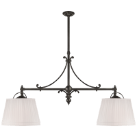 Sloane Double Shop Pendant in Bronze with Linen Shades