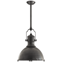 Country Industrial Large Pendant in Bronze with Bronze Shade