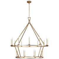 Darlana Extra Large Two-Tier Chandelier in Gilded Iron