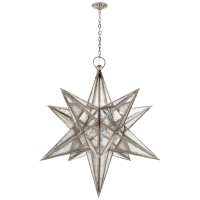 Moravian XL Star Lantern in Burnished Silver Leaf with Antique Mirror