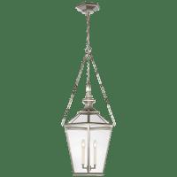 Evaline Medium Lantern in Polished Nickel with Clear Glass