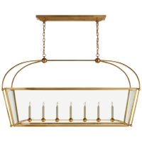 Riverside Large Linear Pendant in Antique-Burnished Brass with Clear Glass