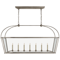 Riverside Large Linear Pendant in Antique Nickel with Clear Glass