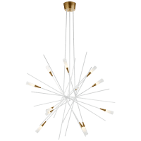 Stellar Large Chandelier in Matte White and Antique Brass with Frosted Acrylic