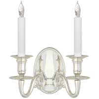 Grosvenor House Double Sconce in Polished Silver