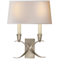 Cross Bouillotte Small Sconce in Antique Nickel with Natural Paper Shade