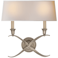 Cross Bouillotte Large Sconce in Antique Nickel with Natural Paper Shade