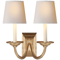 Flemish Double Sconce in Gilded Iron with Natural Paper Shades