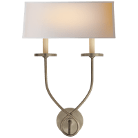 Symmetric Twist Double Sconce in Antique Nickel with Natural Paper Shade