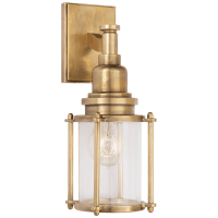 Stanway Sconce in Antique-Burnished Brass with Clear Glass