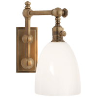 Pimlico Single Light in Antique-Burnished Brass with White Glass