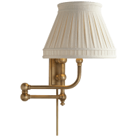 Pimlico Swing Arm in Antique-Burnished Brass with Linen Collar Shade