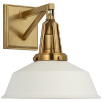 "Layton 10"" Sconce in Antique-Burnished Brass with Matte White shade"