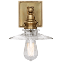Covington Shield Sconce in Antique-Burnished Brass with Clear Glass