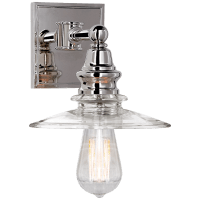 Covington Shield Sconce in Polished Nickel with Clear Glass