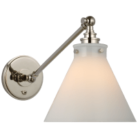 Parkington Single Library Wall Light in Polished Nickel with White Glass