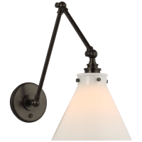 Parkington Double Library Wall Light in Bronze with White Glass