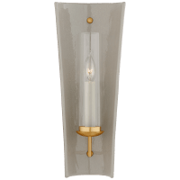 Downey Medium Reflector Sconce in Shellish Gray and Gild with Clear Glass