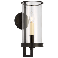 Glendon Small Hurricane Sconce in Bronze with Clear Glass