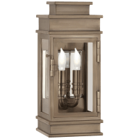 Linear Mini Wall Lantern in Antique Nickel with Clear Glass