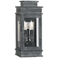 Linear Mini Wall Lantern in Weathered Zinc with Clear Glass