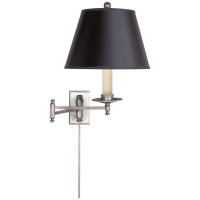 Dorchester Swing Arm in Antique Nickel with Black Shade