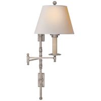Dorchester Double Backplate Swing Arm in Antique Nickel with Natural Paper Shade
