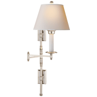 Dorchester Double Backplate Swing Arm in Polished Nickel with Natural Paper Shade