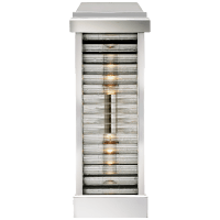 Dunmore Curved Glass Louver Sconce in Polished Nickel with Clear Ribbed Glass