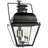Holborn Large Bracketed Wall Lantern in Aged Iron with Clear Glass