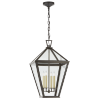 Classic Darlana Large Hanging Lantern in Bronze with Clear Glass