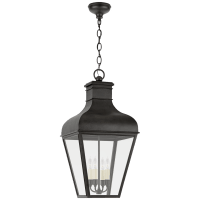 Fremont Large Hanging Lantern in French Rust with Clear Glass