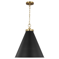 Wellfleet Large Cone Pendant Midnight Black and Burnished Brass