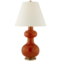 Chambers Medium Table Lamp in Cinnabar with Natural Percale Shade