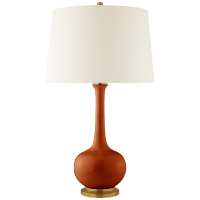 Coy Large Table Lamp in Cinnabar with Natural Percale Shade