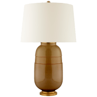 Newcomb Medium Table Lamp in Dark Honey with Natural Percale Shade