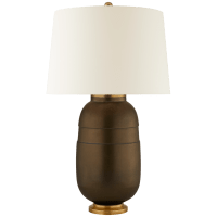 Newcomb Medium Table Lamp in Matte Bronze with Natural Percale Shade