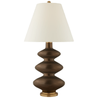 Smith Medium Table Lamp in Matte Bronze with Natural Percale Shade