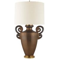 Ralphaeli Large Handled Table Lamp in Matte Bronze with Linen Shade
