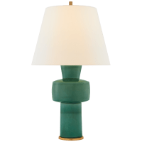 Eerdmans Medium Table Lamp in Celtic Green Crackle with Linen Shade