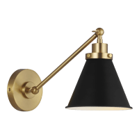 Wellfleet Single Arm Cone Task Sconce Midnight Black and Burnished Brass