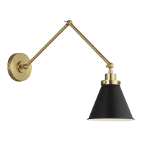 Wellfleet Double Arm Cone Task Sconce Midnight Black and Burnished Brass